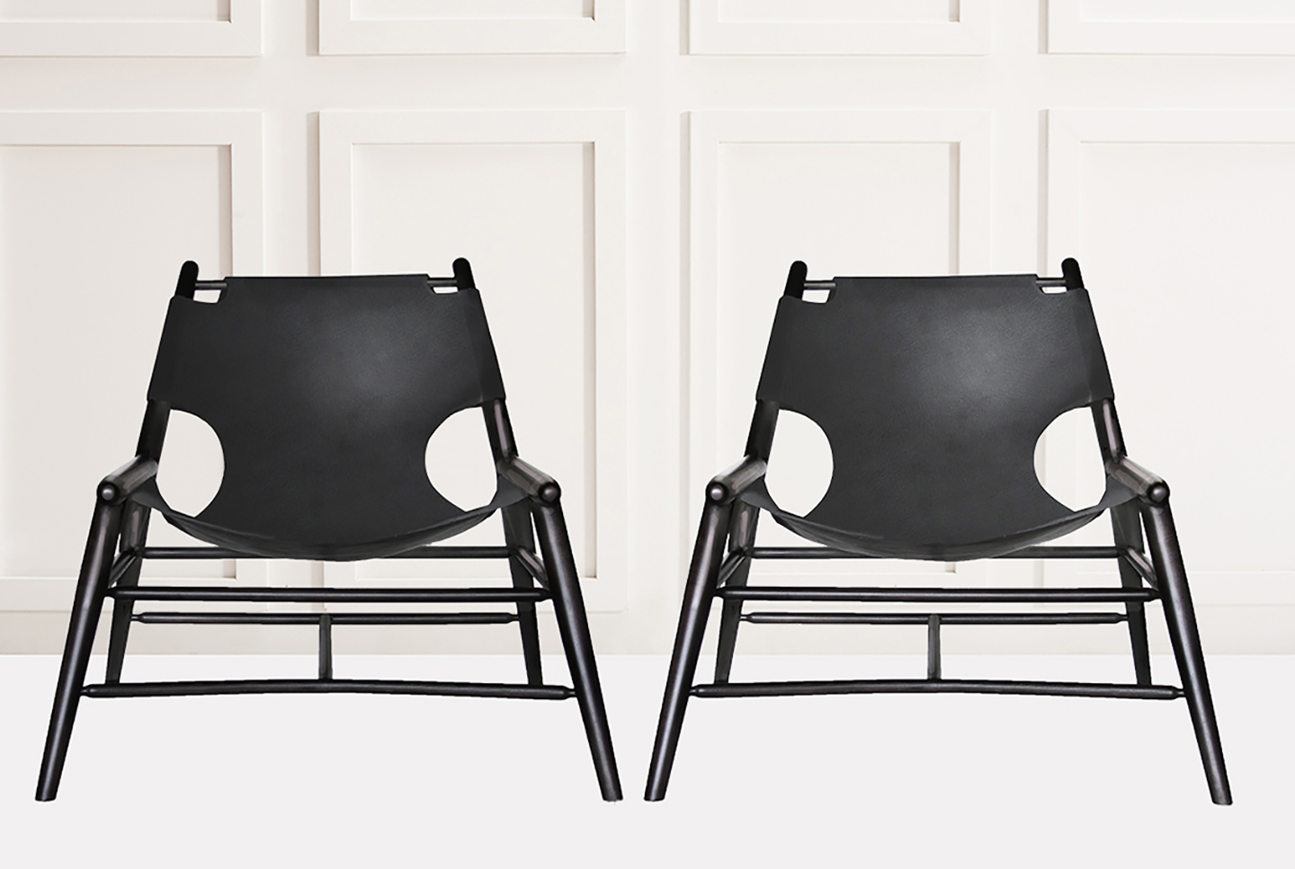 Black Leather Sling Chair Anna Karlin